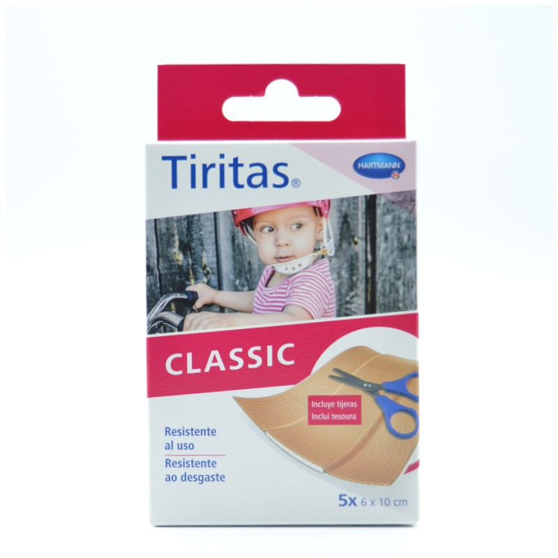 TIRITAS CLASSIC TELA 6X10 CM 5 U + TIJERA HARTM Parafarmacia