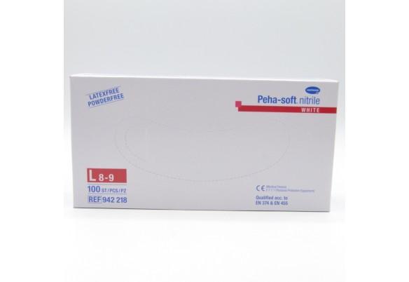 GUANTES PEHA-SOFT NITRILO BLANCO T-L100 U Parafarmacia
