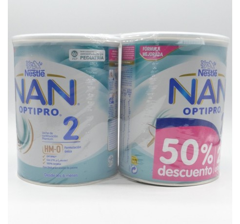 NAN OPTIPRO 2 DUPLO 2ºU 50% 2X800 GR Parafarmacia