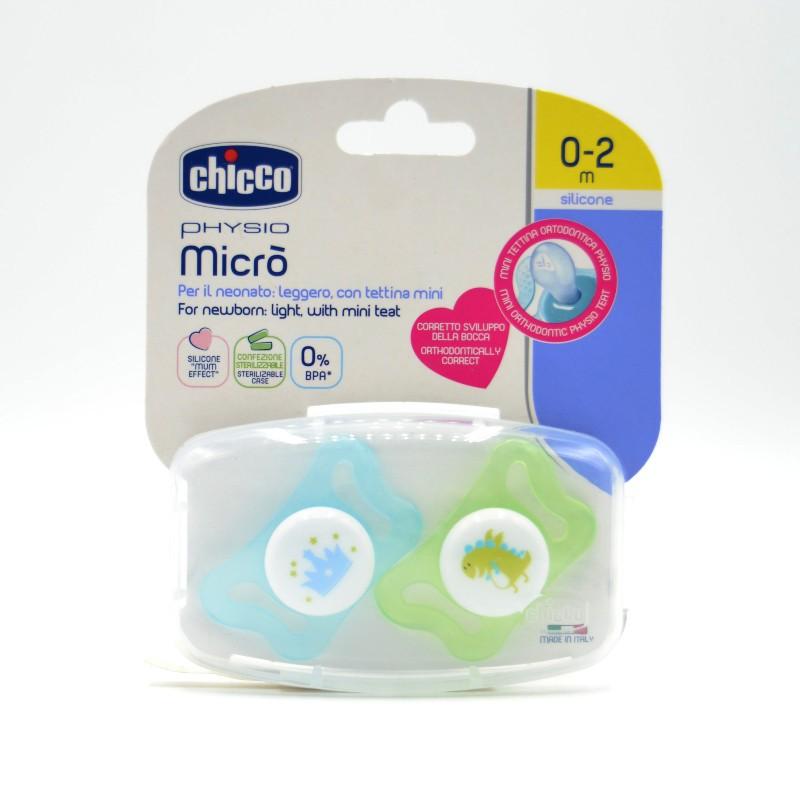 CHUPETE CHICCO SILIC PHYSIO MICRO 0-2M AZUL 2U Parafarmacia