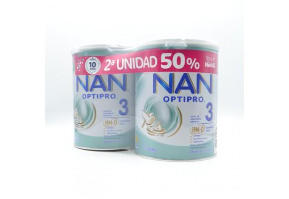 NAN OPTIPRO 3 DUPLO 2ºU 50% 2X800G Cuidado del bebé